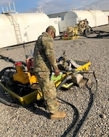 Sgt. Nolan Johnson with the 300th Sustainment Brigade performs a fuel site inspection in Erbil, Iraq, Feb.4, 2019.