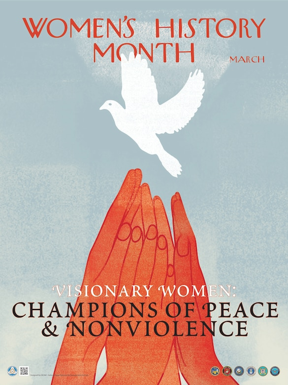 """At the bottom center of the poster in white text and capital letters is the first part of the observance theme, """"Visionary Women."""""""