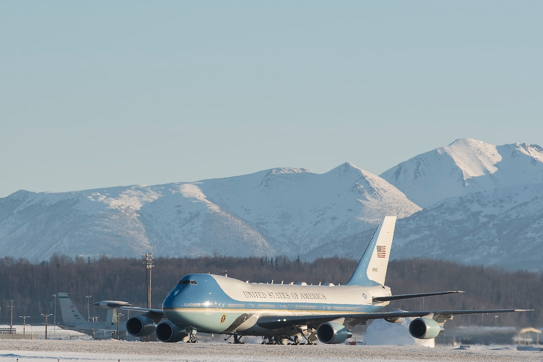 Air Force One taxis to be refueled on Joint Base Elmendorf-Richardson, Alaska, Feb. 28, 2019. The plane, carrying the President of the United States, landed on JBER to refuel after returning from a two-day summit in Hanoi, Vietnam.