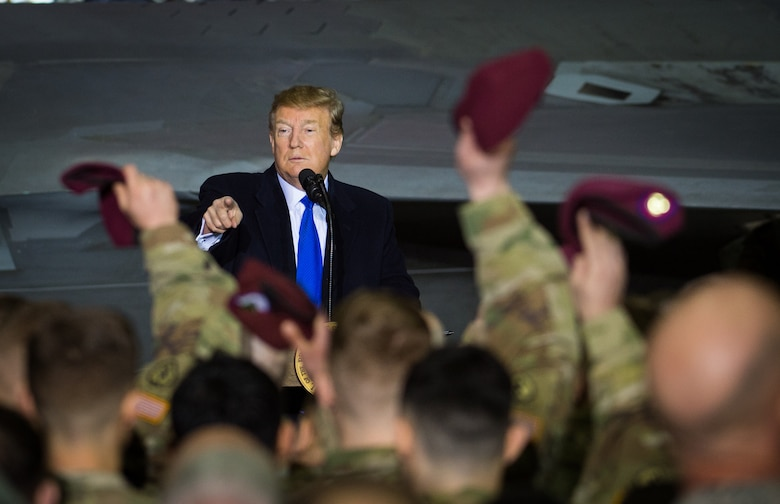 President Donald Trump recognizes U.S. Army paratroopers from the 4th Infantry Brigade Combat Team (Airborne), 25th Infantry Division, U.S. Army Alaska, during a speech at Joint Base Elmendorf-Richardson, Alaska, Feb. 28, 2019. More than 100 Airmen, Sailors, Soldiers, Marines and Coast Guardsmen listened to the President speak after returning to the country from a summit in Hanoi, Vietnam.