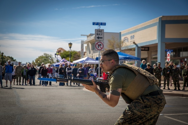 U.S. Marines with Marine Corps Air Station Yuma, conduct a Marine Corps Martial Arts Program (MCMAP) demonstration during Yuma Military Appreciation Day in Downtown Historic Yuma on Feb. 16, 2019. Military Appreciation Day is held to show the importance of the relationship between the City of Yuma and our service members and veterans. (U.S. Marine Corps photo by Sgt. Allison Lotz)