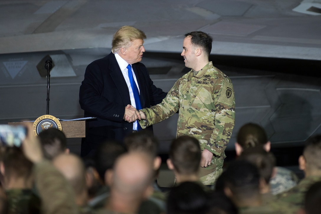 President Donald Trump speaks to service members at Joint Base Elmendorf-Richardson, Alaska, Feb. 28, 2019. The President was at the base to meet with service members after returning from a summit in Hanoi, Vietnam. (U.S. Air Force photo by Staff Sgt. Westin Warburton)