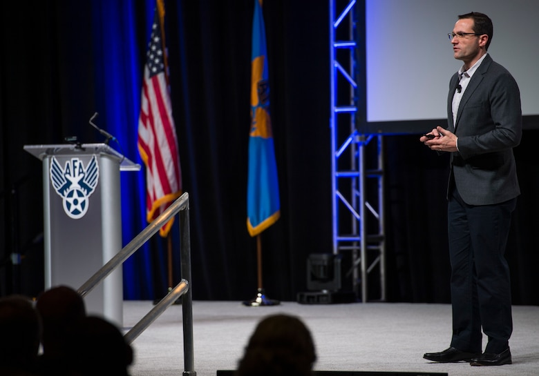 "Dr. Will Roper, assistant secretary of the Air Force for acquisition, technology and logistics, discusses ""Fielding Tomorrow's Air Force Faster and Smarter,"" during the Air Force Association's Air Warfare Symposium in Orlando, Fla., Feb. 27, 2019. (U.S. Air Force photo by Tech. Sgt. DeAndre Curtiss)"