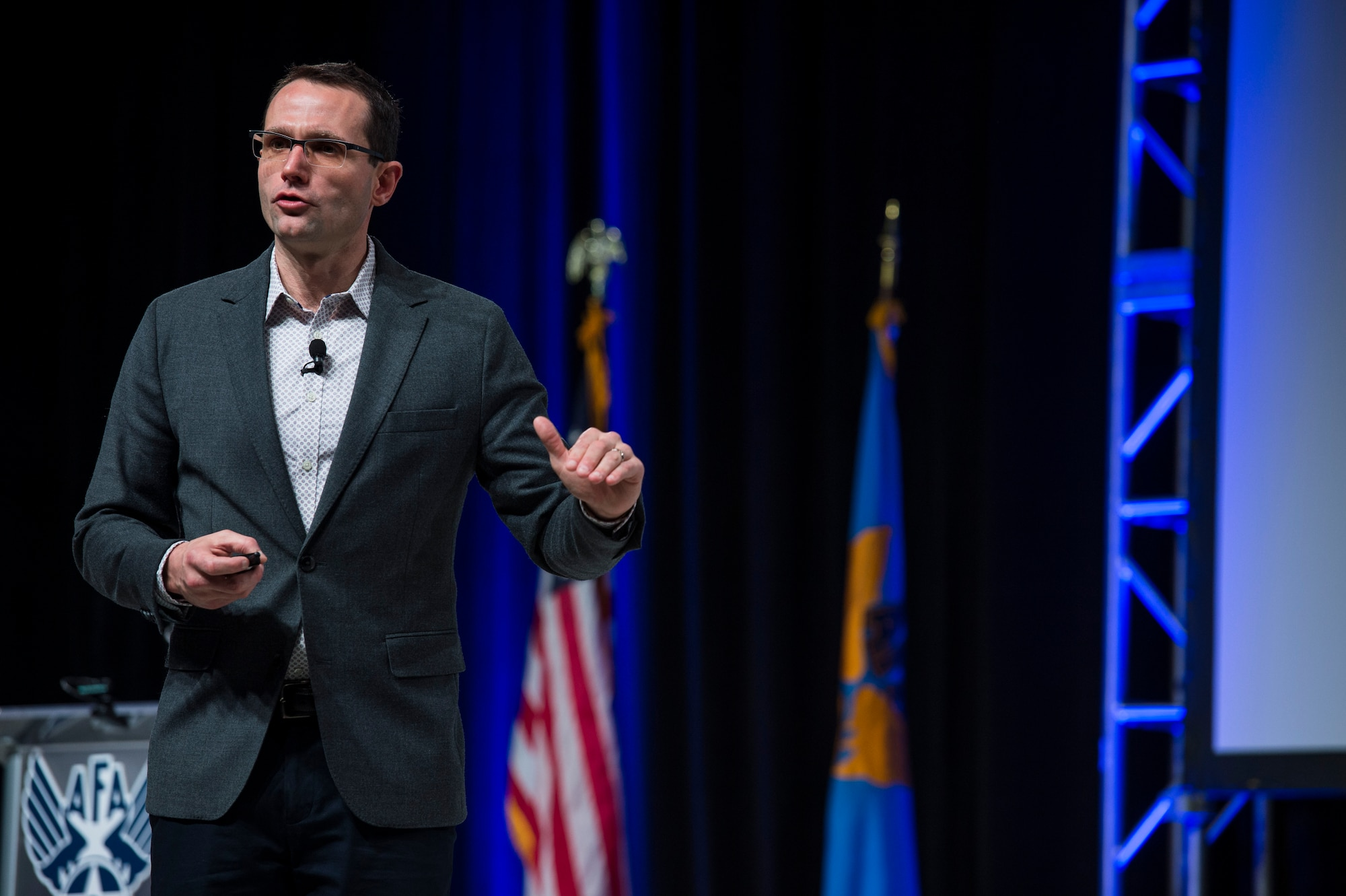 """Dr. Will Roper, assistant secretary of the Air Force for acquisition, technology and logistics, discusses """"Fielding Tomorrow's Air Force Faster and Smarter,"""" during the Air Force Association's Air Warfare Symposium in Orlando, Fla., Feb. 27, 2019. (U.S. Air Force photo by Tech. Sgt. DeAndre Curtiss)"""