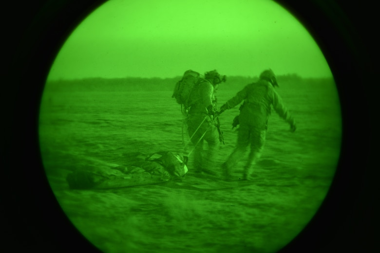 Pararescuemen from the U.S. Air Force's 321st Special Tactics Squadron assigned to the 352nd Special Operations Wing in England, conduct a medic response scenario during a culmination exercise near Krakow on Dec. 5, 2018.