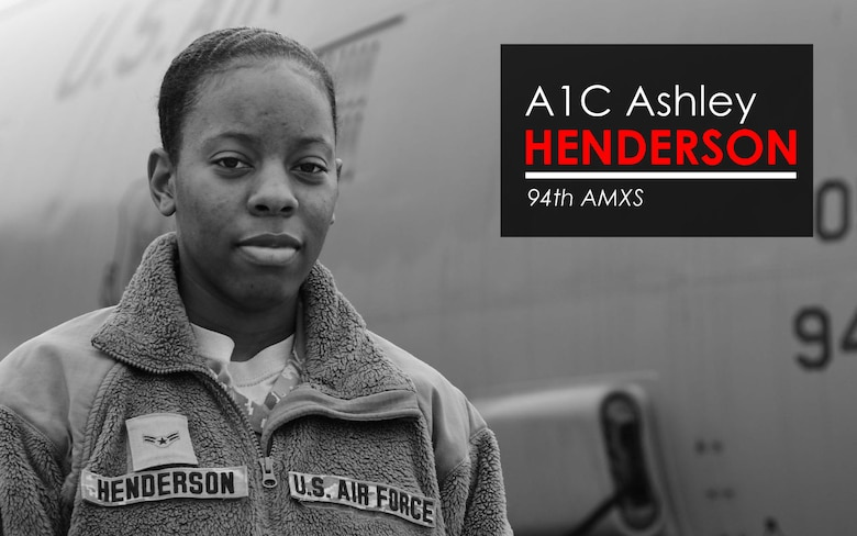 This week's Up Close features A1C Ashley Henderson, 94th AMXS crew chief. Up Close is a series spotlighting individuals around Dobbins Air Reserve Base. (U.S. Air Force graphic/Staff Sgt. Andrew Park)