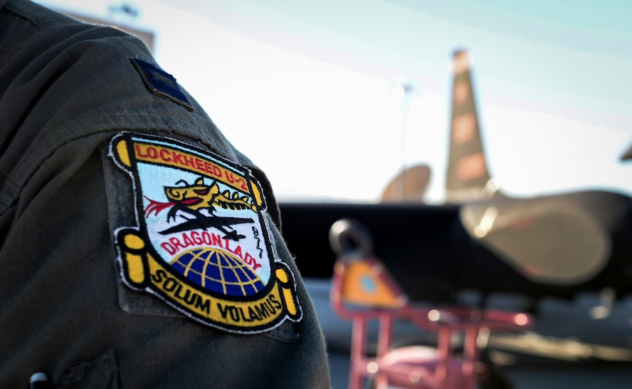 A Lockheed U-2 Dragon Lady patch sits on the shoulder of a pilot.