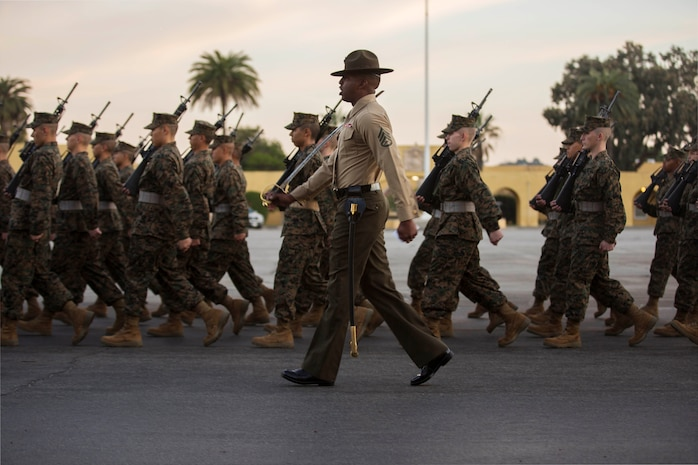 Recruits with Alpha Company, 1st Recruit Training Battalion, march during a final drill evaluation at Marine Corps Recruit Depot San Diego, Dec. 22.