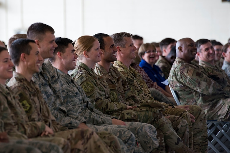 Audience members laugh at a joke during a safety briefing, Jan. 2, 2019, at Moody Air Force Base, Ga. Team Moody started the New Year with a clean slate by picking up debris off the flightline this morning, ensuring a safe runway for training and deploying warriors throughout the year. We also had the honor of hearing guest speaker Bernie McGrenahan, a comedian with a powerful training and prevention-based session at the end of his show. Thank you to the Wing Safety Office for putting this day together and starting the year off right! (U.S. Air Force photo by Airman 1st Class Erick Requadt)