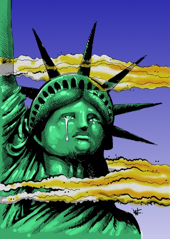 911 Statue of Liberty crying