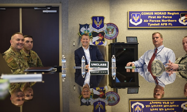 Bill Marion, Secretary of the Air Force deputy chief information officer visits Tyndall Air Force Base after Hurricane Michael.