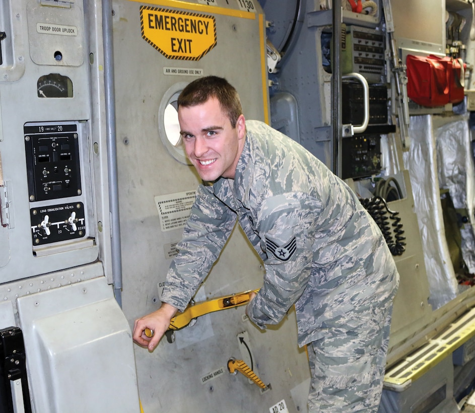 Staff Sgt.  Matthew Card, 445th Maintenance Squadron Home Station Check Crew Chief, is the 445th Airlift Wing January Spotlight Performer. (U.S. Air Force photo/Stacy Vaughn