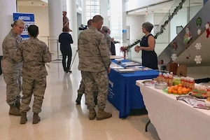 U.S. Air Force Airmen assigned to the Air National Guard Readiness Center participate in a resiliency event at Joint Base Andrews, Maryland, Dec. 14, 2018. This event was put together to showcase the different resources available to Airmen and their families. (U.S. Air National Guard photo by Master Sgt. Sara Eldred)