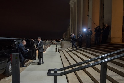 Acting defense secretary steps out of car upon arroival at Pentagon.
