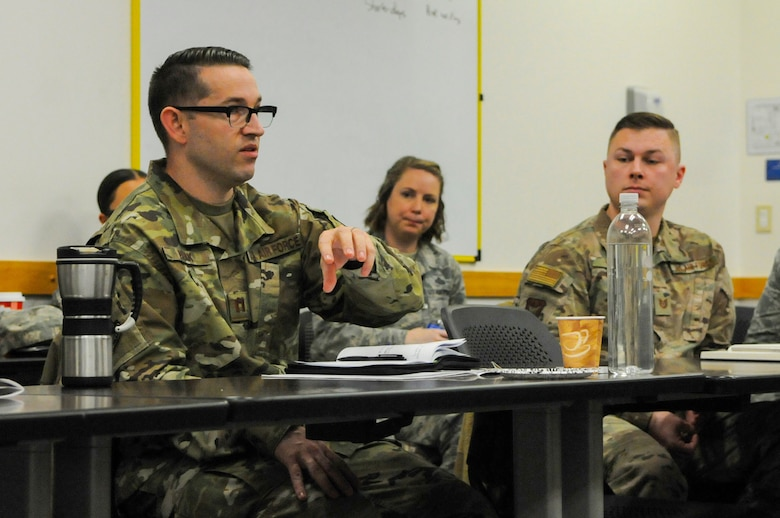 U.S. Air Force Capt. Michael Park, 303rd Intelligence Squadron assistant director of operations, discusses the importance of the Combat Readiness Sustainment Program during a conference at Beale Air Force Base, California, Dec. 12, 2018. More than 20 Airmen attended the conference geared toward developing methods to improve the CRSP. (U.S. Air Force photo by Airman 1st Class Danielle McBride)