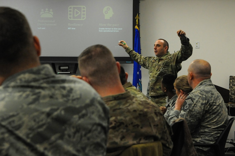 U.S. Air Force Senior Master Sgt. Mike Green, 9th Intelligence Squadron operations superintendent, explains the importance of resiliency during a Combat Readiness Sustainment Program conference at Beale Air Force Base, California, Dec. 12, 2018. More than 20 Airmen attended the conference and discussed methods to improve future Combat Readiness Sustainment Programs. (U.S. Air Force photo by Airman 1st Class Danielle McBride)