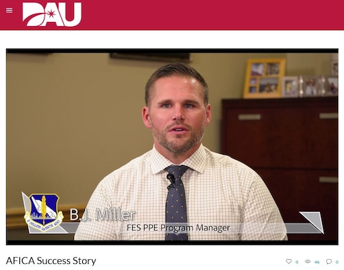 Air Force Installation and Contract Agency's B.J. Miller, fire and emergency service personal protective equipment manager, recently took part in a Defense Acquisition University library video to explain enterprise sourcing methodology. Miller was instrumental in delivering standardized equipment, enhanced firefighter safety, streamlined acquisition processes and significant cost savings to the Air Force fire emergency services community. (Screen capture by U.S. Air Force)