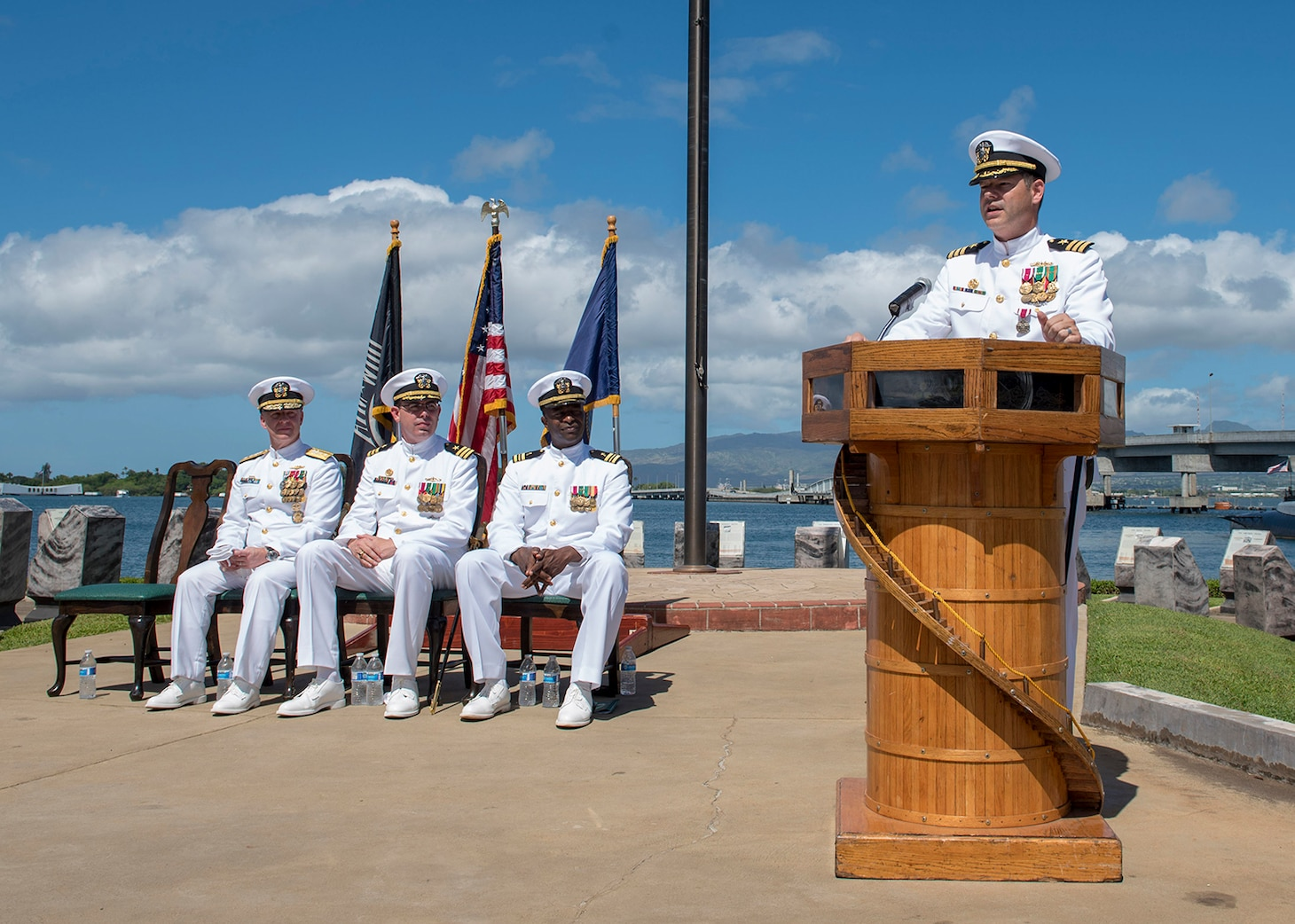 PEARL HARBOR (Sep. 07, 2018) - Cmdr. Christopher Lindberg addresses guests during the change of command ceremony of the Naval Submarine Support Command Pearl Harbor at the USS Bowfin Submarine Museum and Park in Pearl Harbor, Hawaii, Sep. 07.