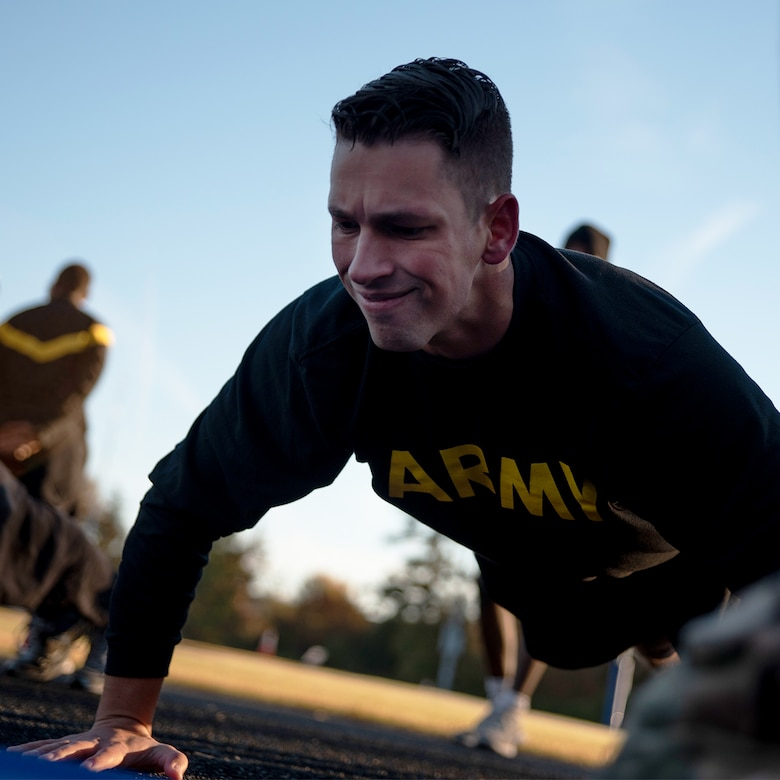 An Army reserve soldier does a push up.