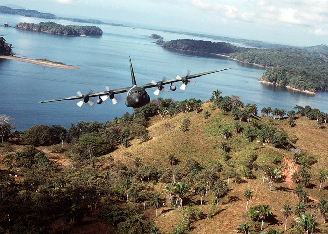 A U.S. Air Force C-130 Hercules transport aircraft takes off from a landing strip in Panama during Operation JUST CAUSE (U.S. Air Force photo by Master Sgt. Ken Hammond)