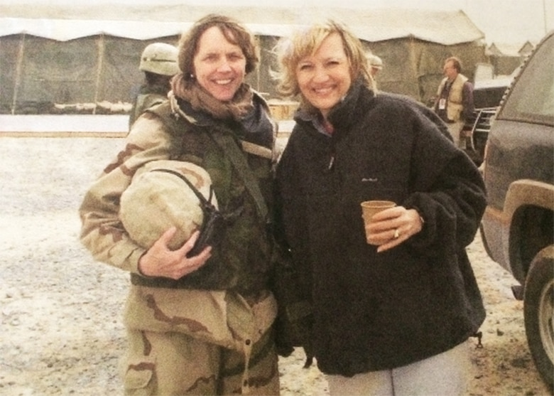 In 2003, Col. Carol Vermillion (left) with reporter Diane Sawyer of ABC News, in front of an Army Combat Support Hospital in Kuwait. (Courtesy photo)