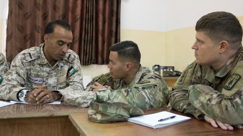 U.S. Army Staff Sergeants Joseph Wong, center, and Christopher Reitz, right, both with the 157th Military Engagement Team, Wisconsin Army National Guard, speak with Warrant Officer 1 Khaled Hassan Salah, an instructor with the Jordan Armed Forces, about an example instructor evaluation rubric based off the Foundation Instructor Facilitator Course, Dec. 17, 2018, at the Jordanian noncommissioned officer academy near the Joint Training Center, Jordan. Soldiers from both armies are instructors with decades of shared experience as teachers within their forces.