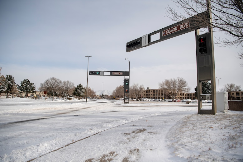 A view of the intersection of Gibson and Texas covered in snow after a winter blizzard hit Dec. 27, 2018. A blizzard blanketed the Albuquerque area and prompted closure of Kirtland Air Force Base to non-mission essential personnel on Dec. 27, and 28, 2018.