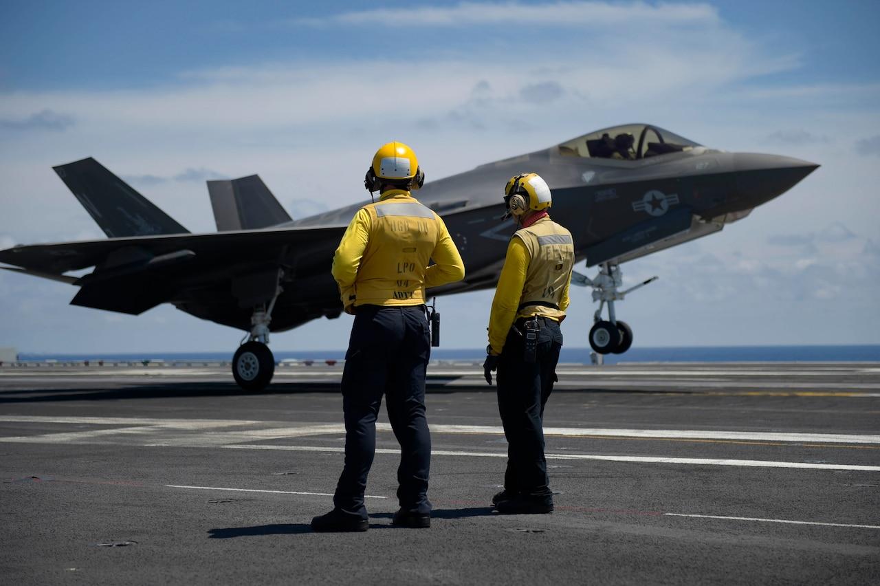 F-35 landing on an aircraft carrier.
