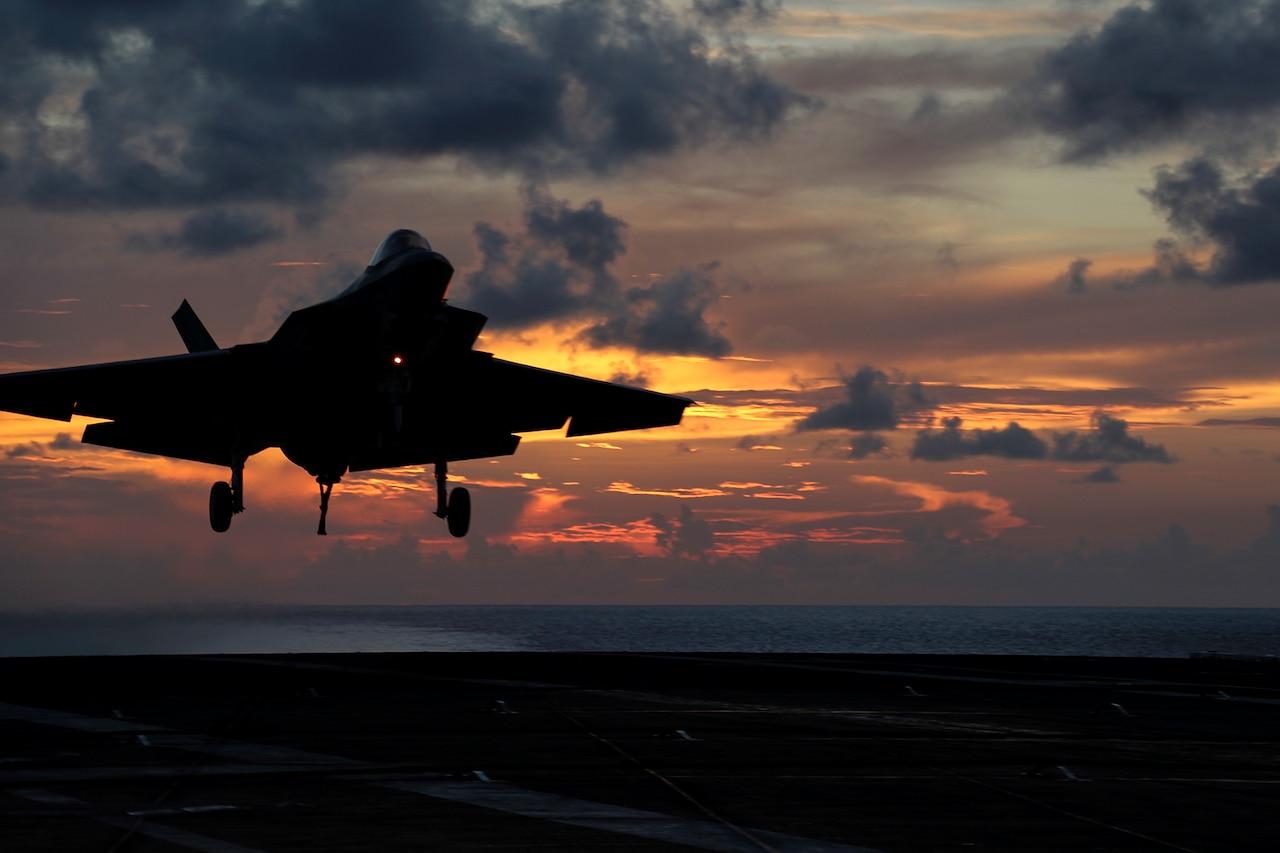 F-35 landing on an aircraft carrier