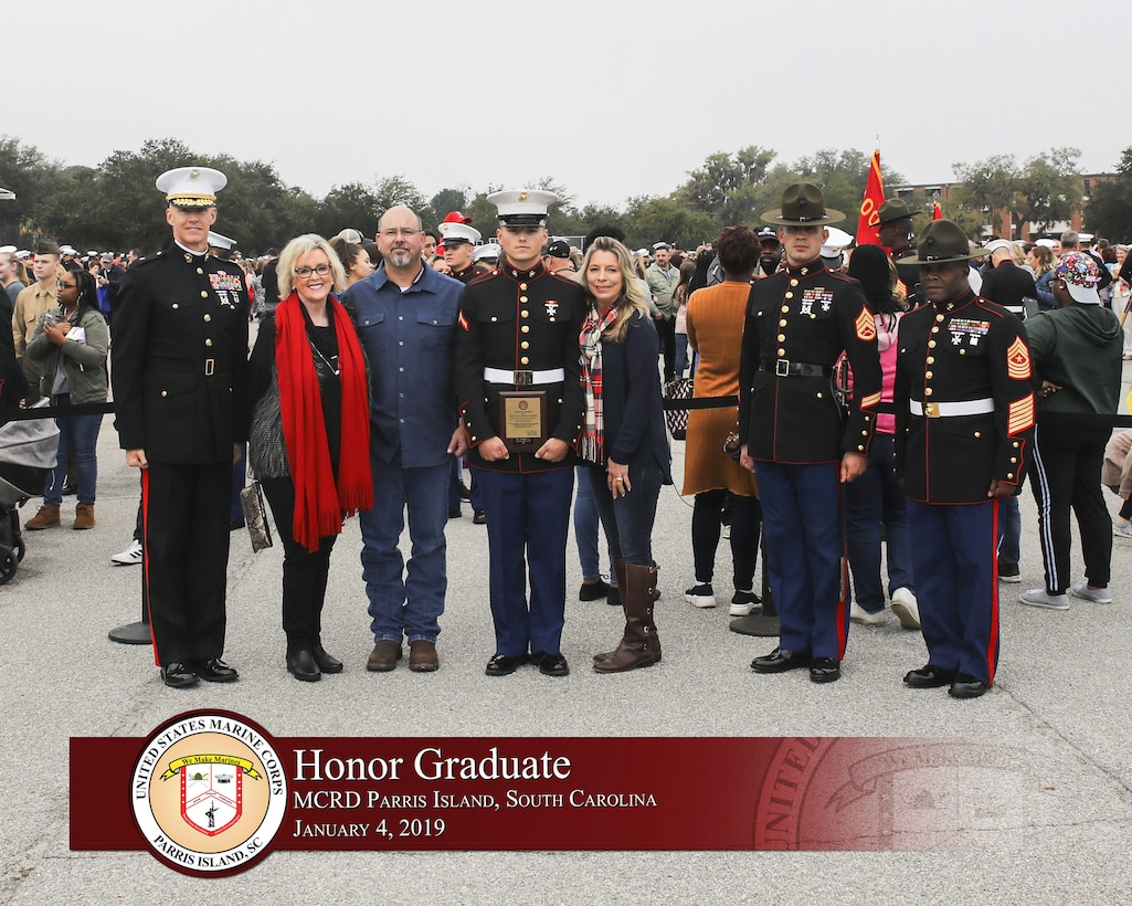 Pfc. Cody C. Parr graduated from Marine recruit training today as the platoon honor graduate of Platoon 1002, Company C, 2nd Battalion, Recruit Training Regiment, for placing first of 79 recruits.