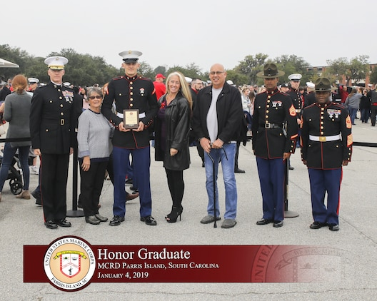 Pfc. Jessee W. Prester graduated from Marine recruit training today as the platoon honor graduate of Platoon 1004, Company C, 2nd Battalion, Recruit Training Regiment, for placing first of 80 recruits.