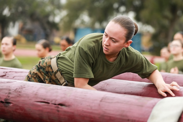 """Pfc. Elizabeth Reetz, the honor graduate of platoon 4001, Oscar Company, 4th Recruit Training Battalion, gave us some insight on what it means to be the platoon guide and why she wanted to lead from the front.  """"When a recruit is appointed as the guide, that recruit is in charge of helping the other recruits and assisting the drill instructors by carrying out their instructions. Having this leadership position helps balance everything out and keep good order and discipline within the platoon even when the drill instructors are not around.""""  """"I remember how my rack mate used to motivate me and lift up my spirit when I was feeling down. I wanted to act like her and make other recruits feel the same way she made me feel. Throughout recruit training, I always thought to myself, 'No matter how down I am feeling, someone else is feeling worse. I need to push myself to always be the one that is positive and pushing others to be their best.'"""""""