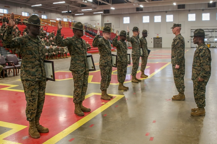 Drill instructors are meritoriously promoted at the All-Weather Training Facility on Marine Corps Recruit Depot Parris Island, S.C. January 2, 2019. The drill instructors were meritoriously promoted to the next rank by Brig. Gen. James F. Glynn, commanding general, and Depot Sergeant Major, Sgt. Maj. William C. Carter. (U.S. Marine Corps photo by Lance Cpl. Shane T. Manson)