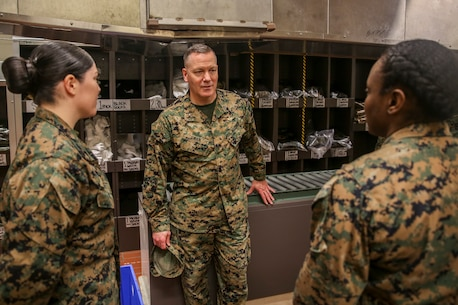 Brig. Gen. William H. Swan tours the recruit receiving building at Marine Corps Recruit Depot Parris Island, Jan. 3, 2019. Swan toured the base before acting as the Parade Reviewing Official for the graduation of Golf Company, 2nd Recruit Training Battalion.