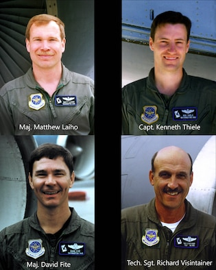 Left to Right: Maj. Matthew Laiho, Capt. Kenneth Thiele, Maj. David Fite, and Tech. Sgt. Richard Visintainer. The crew of ESSO 77, who lost their lives when their KC-135 Stratotanker crashed Jan. 13, 1999 near Geilenkirchen NATO Air Base in Geilenkirchen, Germany. (U.S. Air National Guard photo illustration by Staff Sgt. Rose M. Lust)