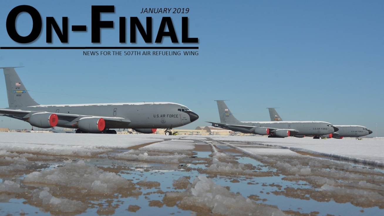 KC-135R Stratotankers sit on the flightline at Tinker Air Force Base, Oklahoma, after snow and ice fell on the base January 3-4, 2019. (U.S. Air Force Photo by Tech. Sgt. Samantha Mathison)