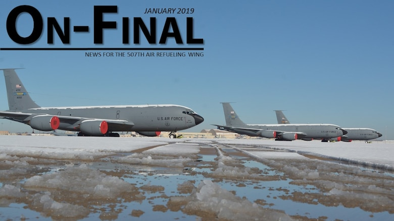 KC-135R Stratotankers sit on the flightline at Tinker Air Force Base, Oklahoma after snow and ice fell on the base January 3-4, 2019.