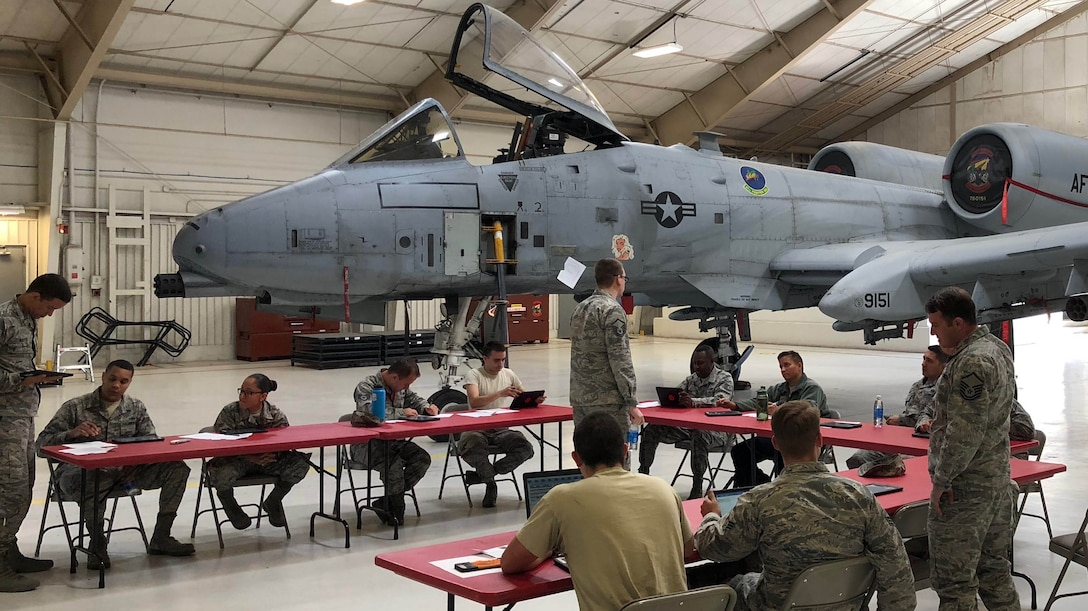 Air Force Reserve Command A4 Directorate, Logistics, Engineering and Force Protection, hosts a user acceptance testing session for the BRICE mobile app at Davis Monthan Air Force Base in Arizona with the 924th Fighter Group maintainers in March, 2018. Headquarters Air Force, AFRC, and Monkton teamed up to create and launch an iOS modern mobile app that enables maintainers to directly access the maintenance database from the flight line at the point of aircraft repair at the end of 2018. (Courtesy Photo)