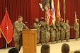 """Maj. Gen. Flem B. """"Donnie"""" Walker, Jr., 1st Theater Sustainment Command, speaks during the transfer of authority ceremony between the 143d Sustainment Command and the 184th Sustainment Command Jan. 2, 2019, at Camp Arifjan, Kuwait."""