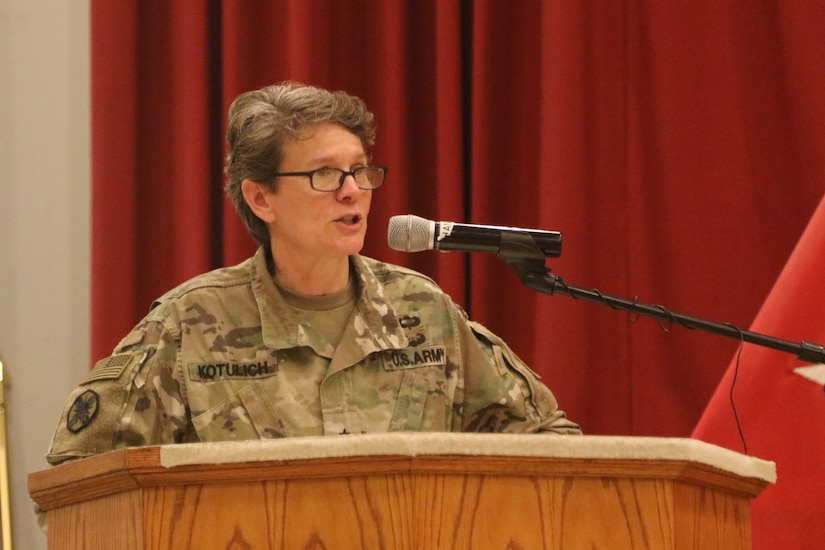 Brig. Gen. Deborah Kotulich, 143d Sustainment Command, speaks during the transfer of authority between the 143d and the 184th Sustainment Commands at Camp Arifjan, Kuwait, Jan. 2, 2019.