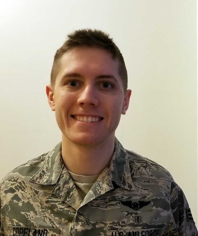 Senior Airman Devin Copeland, 445th Aeromedical Evacuation Squadron AE technician, is the 445th Airlift Wing Airman of the Quarter, fourth quarter CY18.
