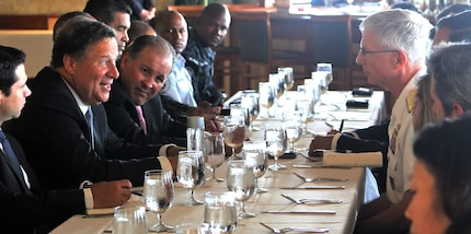 Panamanian President Juan Carlos Varela speaks to U.S. and international leaders during a luncheon prior to his JIATF South visit.
