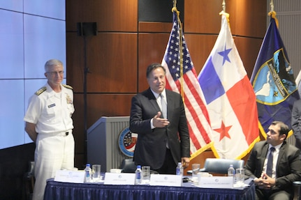 Panamanian President Juan Carlos Varela speaks during his visit to JIATF South. This visit was hosted by Navy Adm. Craig Faller, Commander of U.S. Southern Command, and Coast Guard Rear Adm. Pat DeQuattro, JIATF South Director.