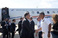 President of Panama Juan Carlos Varela and staff are welcomed to Naval Air Station Key West's Boca Chica Field by NAS Key West Commanding Officer Capt. Bobby Baker.