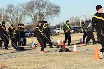 Soldiers with the 1st Combined Arms Battalion, 1st Infantry Division, and 97th Military Police Battalion participate in training at Fort Riley, Kan., Dec. 10-13, 2018, on how to conduct the new Army Combat Field Test for their units. A mobile training team of Master Fitness Trainers from Fort Jackson, S.C., conducted the training in preparation of full implementation of the ACFT by Oct. 2020.