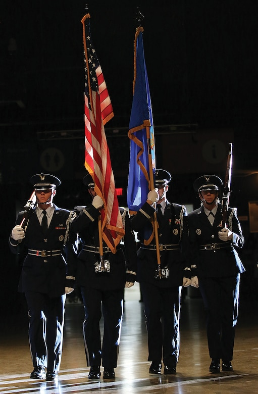 The 445th Honor Guard posts the Colors at the 445th Airlift Wing's annual awards banquet April 7, 2018.