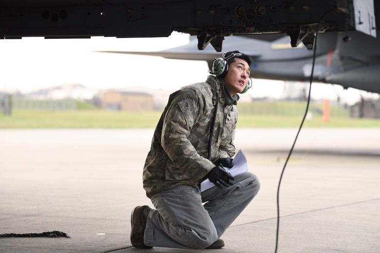 A 492nd Aircraft Maintenance Unit Airman conducts an operations functional check on an F-15E Strike Eagle at Royal Air Force Lakenheath, England, Jan. 7, 2019. The aircraft maintainers conduct frequent functional checks to keep the multi-million dollar aircraft is tip-top shape. (U.S. Air Force photo by Airman 1st Class Shanice Williams-Jones)