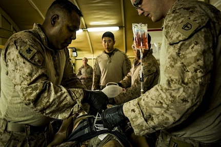 Navy Petty Officer 1st Class Cesar Borrero (left), an X-ray technician, and Seaman Andrew Ott, a field medical technician, fasten a pelvic stabilization device to an essential care simulator manikin during shock trauma section drills.