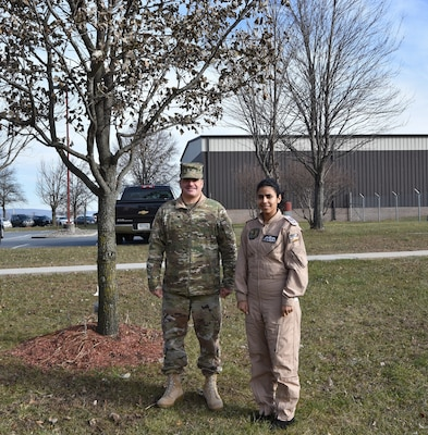 The Eastern Army National Guard Aviation Training Site (EAATS) at Fort Indiantown Gap, Pa., recently hosted Cadet Aya Al-Sourany of the Royal Jordanian Air Force, Jordan's first female helicopter pilot. EAATS has a long history of training pilots form Jordan, and from many nations, evidenced by a sweet gum tree planted by King Abdullah II of Jordan in 1999 on EAATS grounds.
