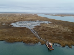 The U.S. Army Corps of Engineers and its contractor Barnegat Bay Dredging Company completed a dredging and marsh restoration project near Stone Harbor, N.J in December of 2018. Work involved dredging sediment from the channel of the New Jersey Intracoastal Waterway and beneficially using the material to create habitat on marshland owned by the New Jersey Division of Fish & Wildlife.